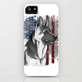 Patriotic American Flag German Shepard Gift Mens Womens Kids Print iPhone Case