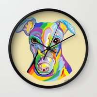 greyhound Wall Clocks featuring Greyhound by EloiseArt