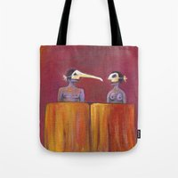 theater Tote Bags featuring Theater masks by Bunny Noir