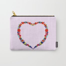 heart made of flowers on a pink background . Artwork Carry-All Pouch