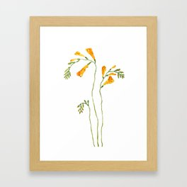 orange freesia watercolor Framed Art Print
