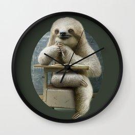 sloth in classroom Wall Clock