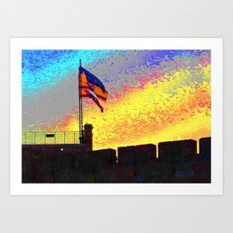 3 Flags on the Old City Wall Art Print