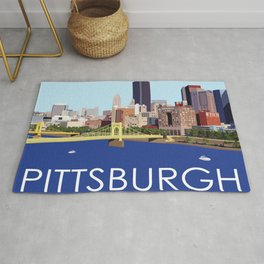 Fun Computer Illustration of Downtown Pittsburgh Skyline, Bridges, and Allegheny River Rug
