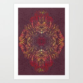 Orange Zentangle Art Print