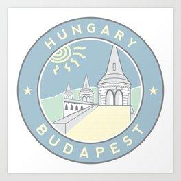 Budapest, Hungary, Fisherman's Bastion, circle blue Art Print