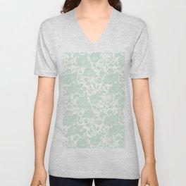 Vintage elegant pastel green white stylish floral Unisex V-Neck