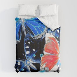 Artistic colorful flock of butterflies Comforters