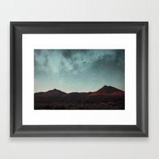 Universe above the mountain peaks Framed Art Print