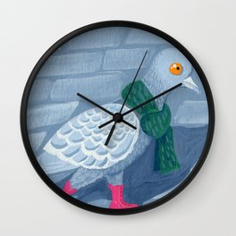 Pigeon in the city Wall Clock