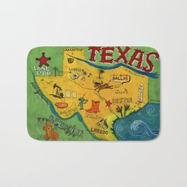 Postcard from Texas print Bath Mat