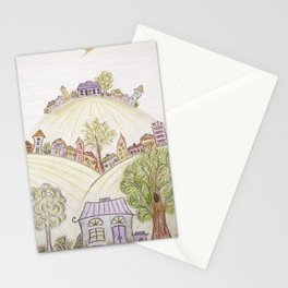 Hills of Colorful Houses Stationery Cards