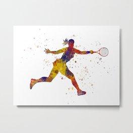 Woman plays tennis in watercolor 05 Metal Print