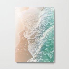 Soft Emerald Beige Ocean Dream Waves #1 #water #decor #art #society6 Metal Print