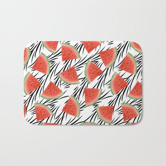 Watermelon slices on white black stripes on the background. Bath Mat