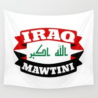 arab Wall Tapestries featuring Iraq My Homeland Banner by mailboxdisco