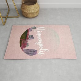 Minneapols Minnesota Skyline-Pink Tones Rug