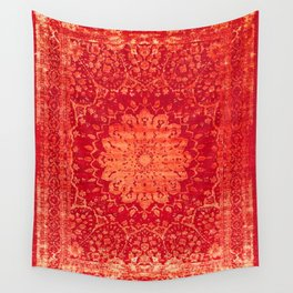 N69 - Oriental Heritage Vintage Orange Traditional Moroccan Farmhouse Style Artwork Wall Tapestry