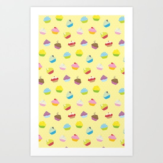 Cupcakes - yellow Art Print