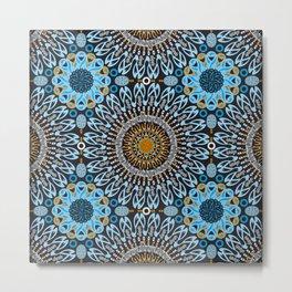 Calligraphic Boho (Blue) Metal Print