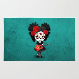 Day of the Dead Girl Playing Vietnamese Flag Guitar Rug