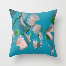 Dogwood Tree Flowers (aqua background) Throw Pillow