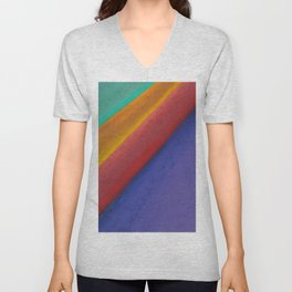 Changeable mood. Abstract background with lines. The texture of pastels. Unisex V-Neck