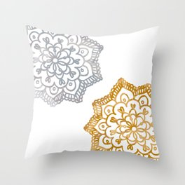 Gold and silver lace floral Throw Pillow