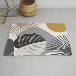Minimal Yin Yang Monstera Fan Palm Finesse #2 #tropical #decor #art #society6 Rug