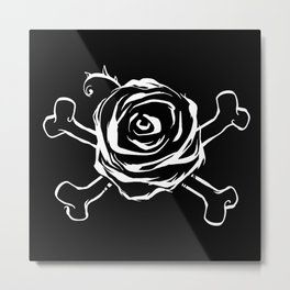 Pirate Rose-Death-Love-Danger-Crossed bones Metal Print