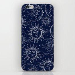 Blue Magic Celestial Sun Moon Stars iPhone Skin