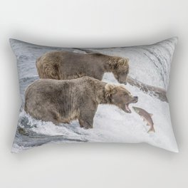 The Catch - Brown Bear vs. Salmon Rectangular Pillow