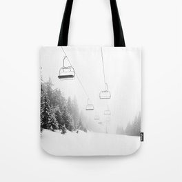 Snow Lift // Ski Chair Lift Colorado Mountains Black and White Snowboarding Vibes Photography Art Print Tote Bag