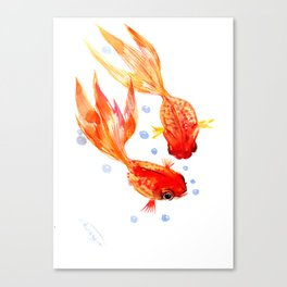 Goldfish Nursery Illustration Feng Shui Two Fish Art Canvas Print
