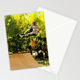 Flying High on Skateboard Ramp at the Park Stationery Cards