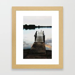 Seneca Lake Pier at Dusk - Colorized Framed Art Print
