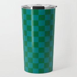 Teal Green and Cadmium Green Checkerboard Travel Mug