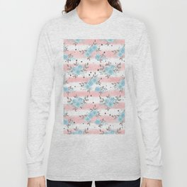 Pink teal watercolor modern stripes floral dots Long Sleeve T-shirt