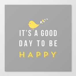 Happy Poster - grey Canvas Print