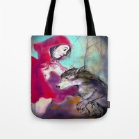 red hood Tote Bags featuring red hood by AliluLera