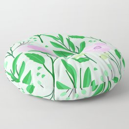 Modern Pink Floral Pattern With Elegant Leaves Floor Pillow