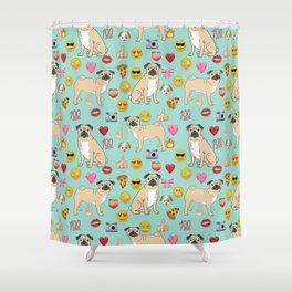 pug emoji dog breed pattern Shower Curtain