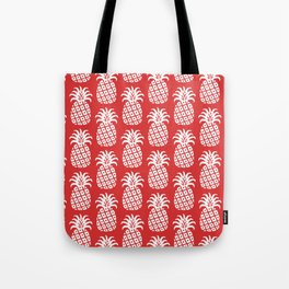 Mid Century Modern Pineapple Pattern Red Tote Bag