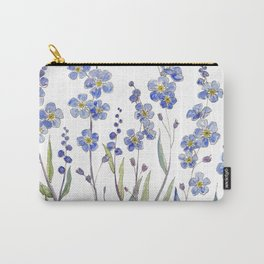 Blue Forget Me Not Blooms Carry-All Pouch