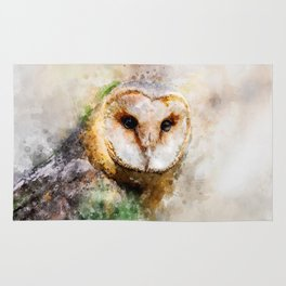 Watercolor Barn Owl Rug