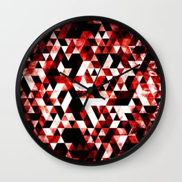 Triangle Geometric Vibrant Red Smoky Galaxy Wall Clock