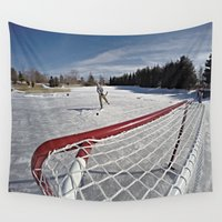 hockey Wall Tapestries featuring Pond Hockey  by LukeyD