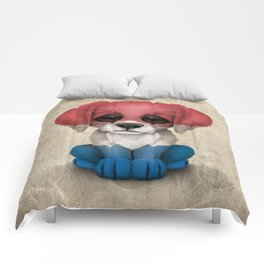 Cute Puppy Dog with flag of The Netherlands Comforters