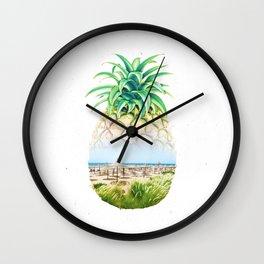 Pineapple beach double exposure Wall Clock