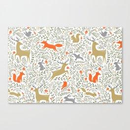 Woodland Animals Folk Canvas Print